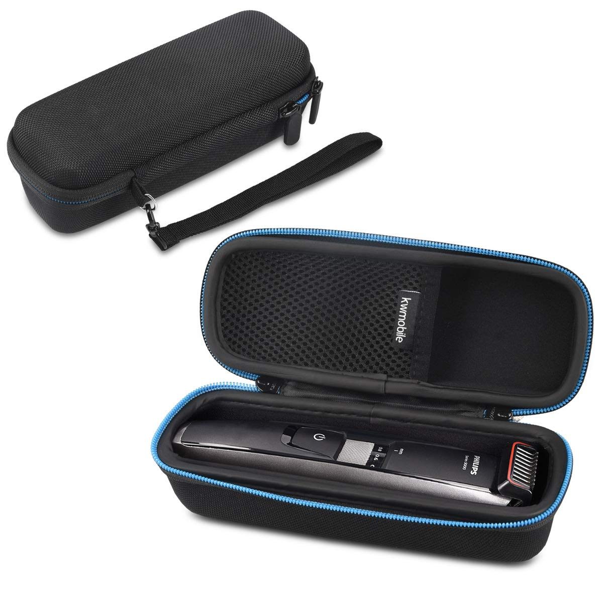 kwmobile Case for Philips beard trimmer Series 5000 7000 9000 - with inner compartment for power supply - protection case for Philips trimmer razor - black KW-Commerce 44021_m000765