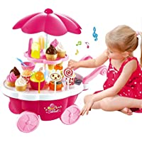 Tabu Toys World Ice Cream Kitchen Play Cart Kitchen Set Toy with Lights and Music -Small