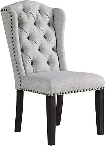 Benjara Button Tufted Fabric Upholstered Side Chair