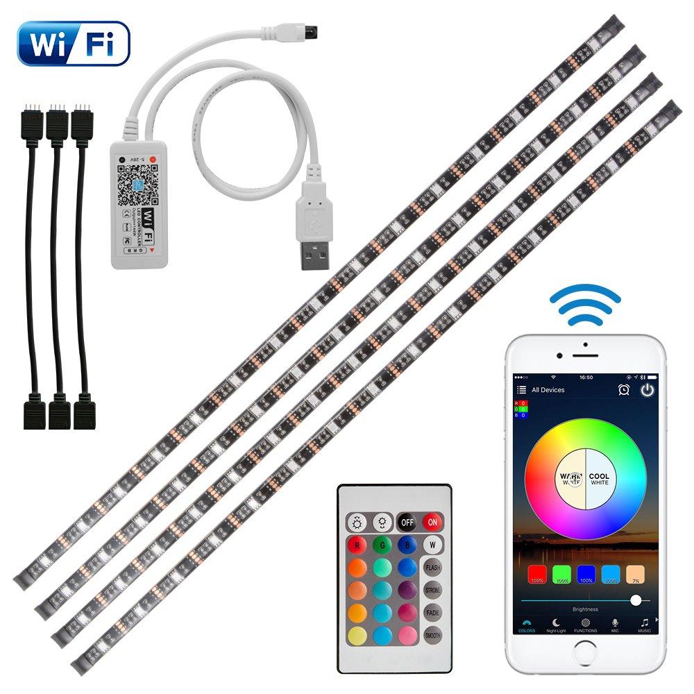 Kreema 4pcs 0.5m WIFI USB RGB 5050SMD LED Streifen Licht Smart App Steuerung Flexible TV Hintergrund Streifen Licht mit IR-Fernbedienung ULD-LD1138