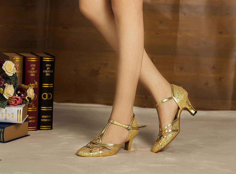 Minishion Womens T-Strap Glitter Salsa Tango Ballroom Latin Dance Shoes Wedding Pumps