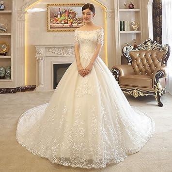 WFL Vestido Principal de Novia con un Hombro Principal detrás de Mujer Embarazada Blanca Fina Princesa