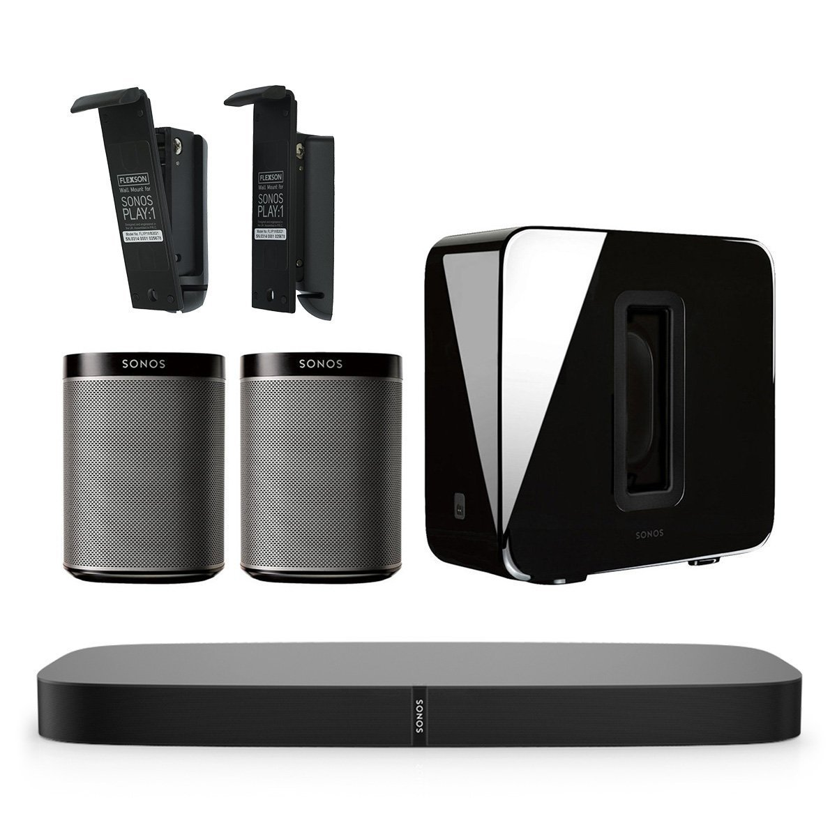 Sonos 5.1 PLAYBASE Home Theater Digital Music System with Flexson Wall Mounts for PLAY:1 (Black)