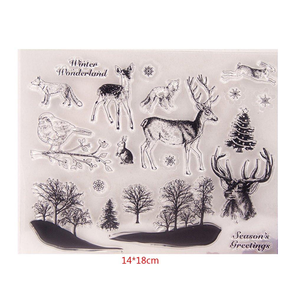 sellos de silicona Clear Stamps DIY Artesan/ía Scrapbooking Decorar /álbum Deer Birds silicona transparente sello hojas scrapbooking