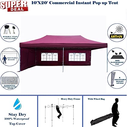 10x20 pop up canopy wedding party tent instant ez up canopy maroon