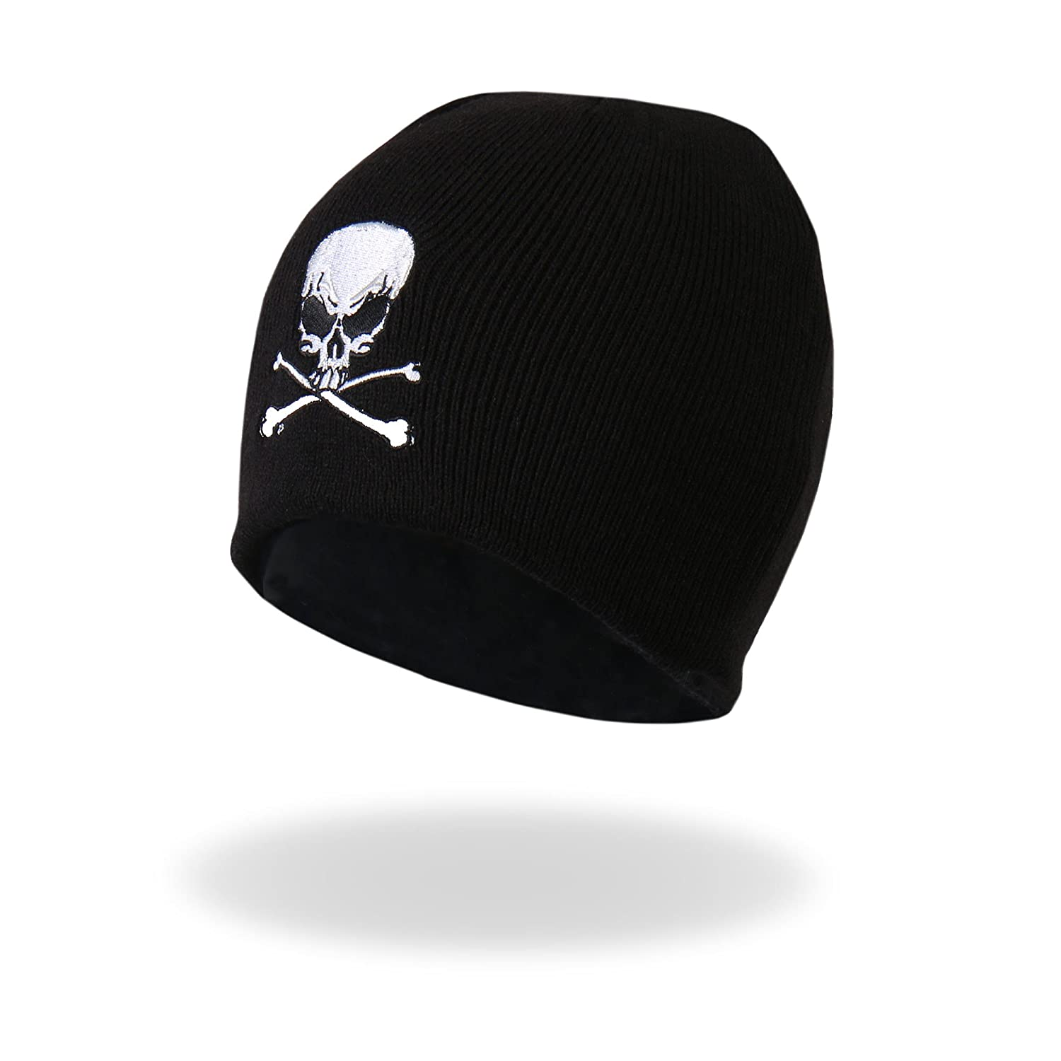 6e65e5da Soft and warm with plenty of stretch black knit beanie. One size fits all,  wear under helmet. Direct embroidered Skull and Crossbones design in white