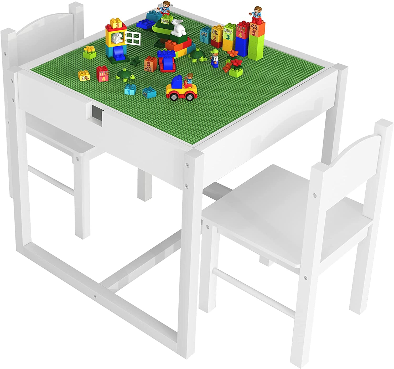 4NM 2 in 1 Kids Activity Table and 2 Chairs Set with Hidden Storage Compartment, Wood Play Building Block Table for Toddlers Children (White)