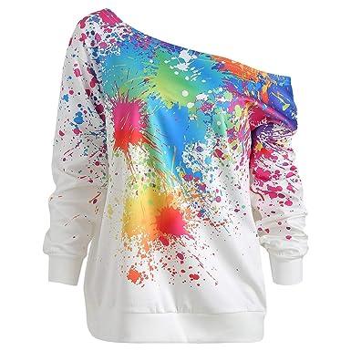 Rosegal Chemise Femme Manche longueTunique Tops épaule dénuédée Sweat-Shirt  Chic Pull Mode T- 4f23f2d4bd9