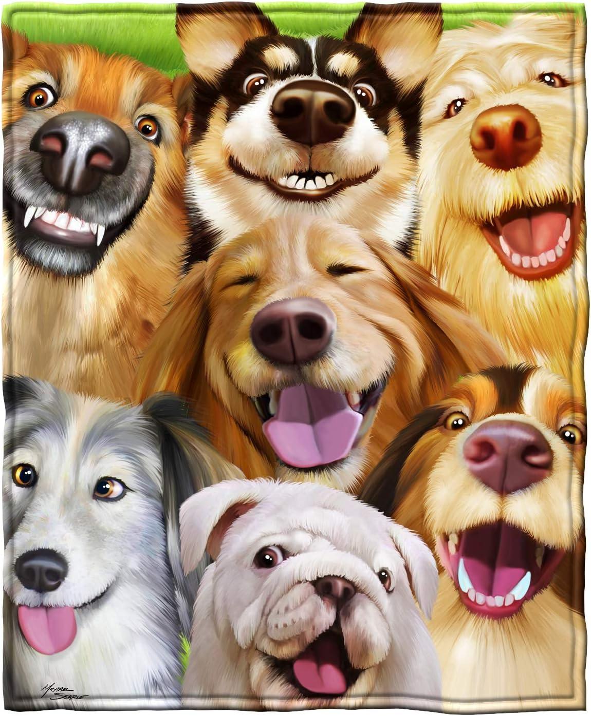 "Dawhud Direct Super Soft Full/Queen Size Fleece Blanket, 75"" x 90"" (Dogs Selfie)"