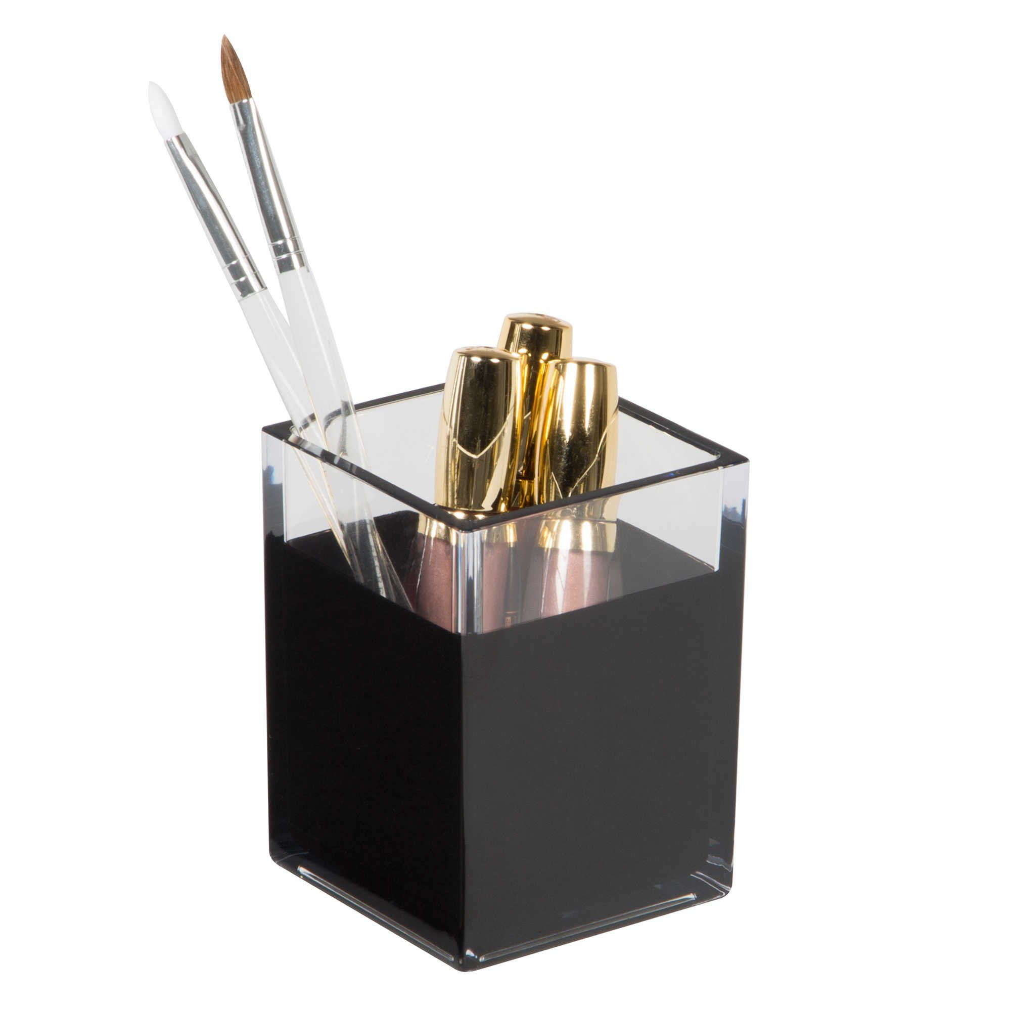 HomeCrate Modern Desk Organizer Pencil Cup, Set of 4 - Clear/Black by HomeCrate (Image #2)