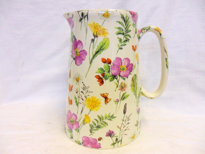 4 Pint Extra Große Kanne in Meadow Flowers von Heron Cross Pottery.