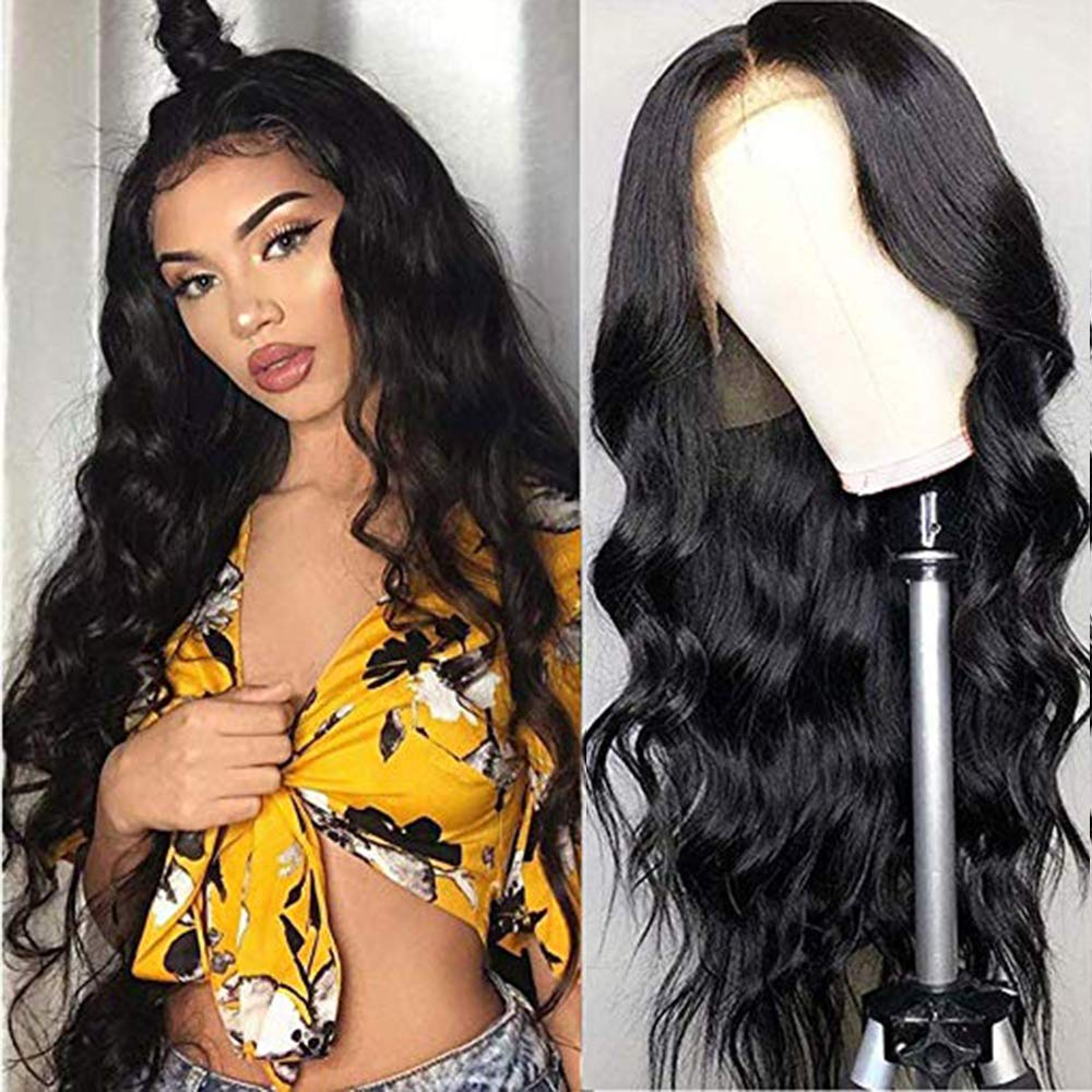 URALL Hair Brazilian body wave Lace Front wigs human hair 150% Density Unprocessed Virgin human hair wigs for black women Pre Plucked Natural Black (20inch) by Ainmeys