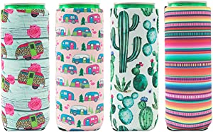 Conveasy 4 Pack Reusable Slim Can Cooler - Neoprene Insulated Can Sleeves for 12oz Tall Skinny Cans Like Red Bull, White Claw, Monster, Slim Beer, Iced Coffee