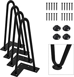 "Orgerphy 10"" Black Heavy-Duty Hairpin Coffee Table Legs (4PCS) | Diameter 3/8"" | with Screws and 4pcs Bonus Rubber Floor Protectors | Mid Century Modern Metal Legs Desk Legs Furniture Legs for DIYers"