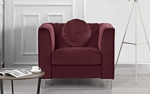 Classic and Traditional Living Room Marilyn Velvet Armchair, Club Chair with Tufted Accent Pillows Red