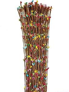 Suandsu 50pcs Artificial Small Berry Iron Wire Garland Floral Craft Decor DIY Weave Wreath Headband Headdress Garland Flower Arrangement Accessories Multicolour