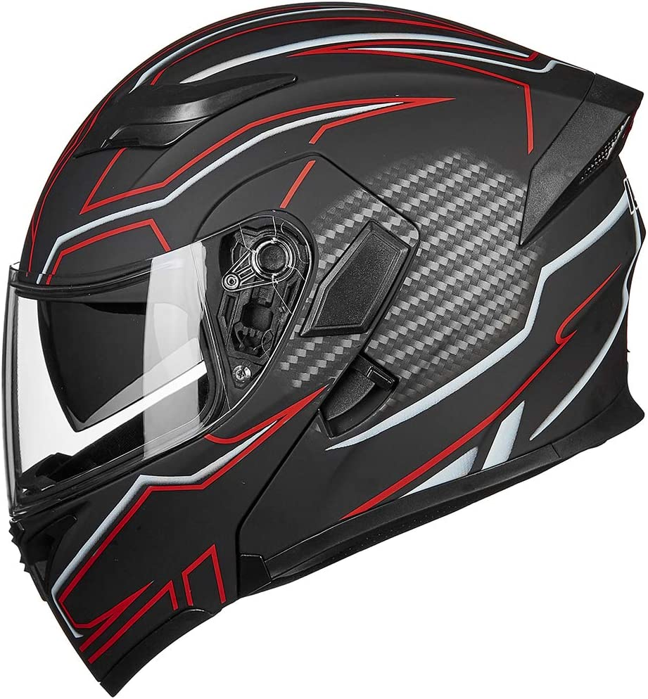 ILM Motorcycle Dual Visor Flip up Modular Full Face Helmet DOT LED Light L, BLACK RED - LED