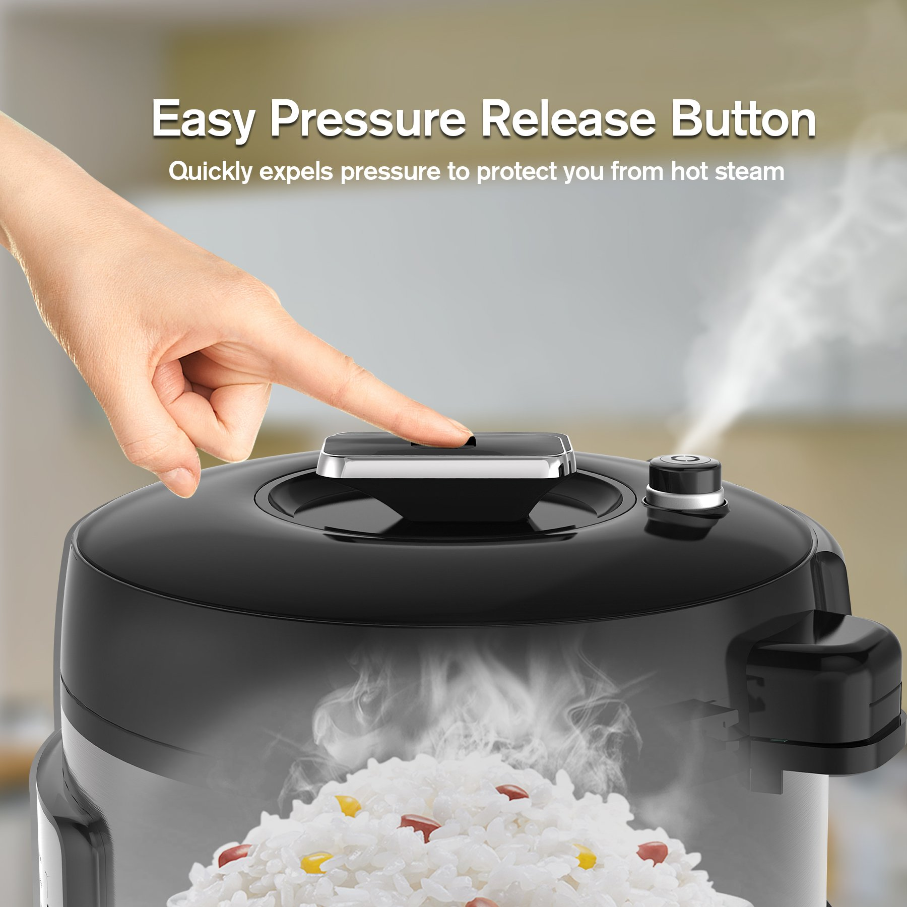 COSORI 6 Qt 7-in-1 Multi-Functional Programmable Pressure Cooker, Slow Cooker, Rice Cooker, Yogurt Maker, Sauté, Steamer & Warmer, Include Glass Lid, Sealing Ring and Recipe Book, 1000W by COSORI (Image #4)
