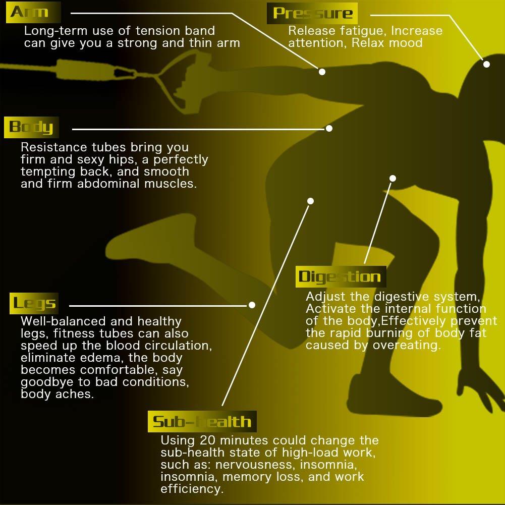 Tubes de résistance, entraînement de bande de résistance de HOTFUN pour le corps avec 5 cordes / poignées / courroies de cheville / ancre de porte / guide de formation, et sac de transport, bandes de résistance d\'exercice réglées pour la f