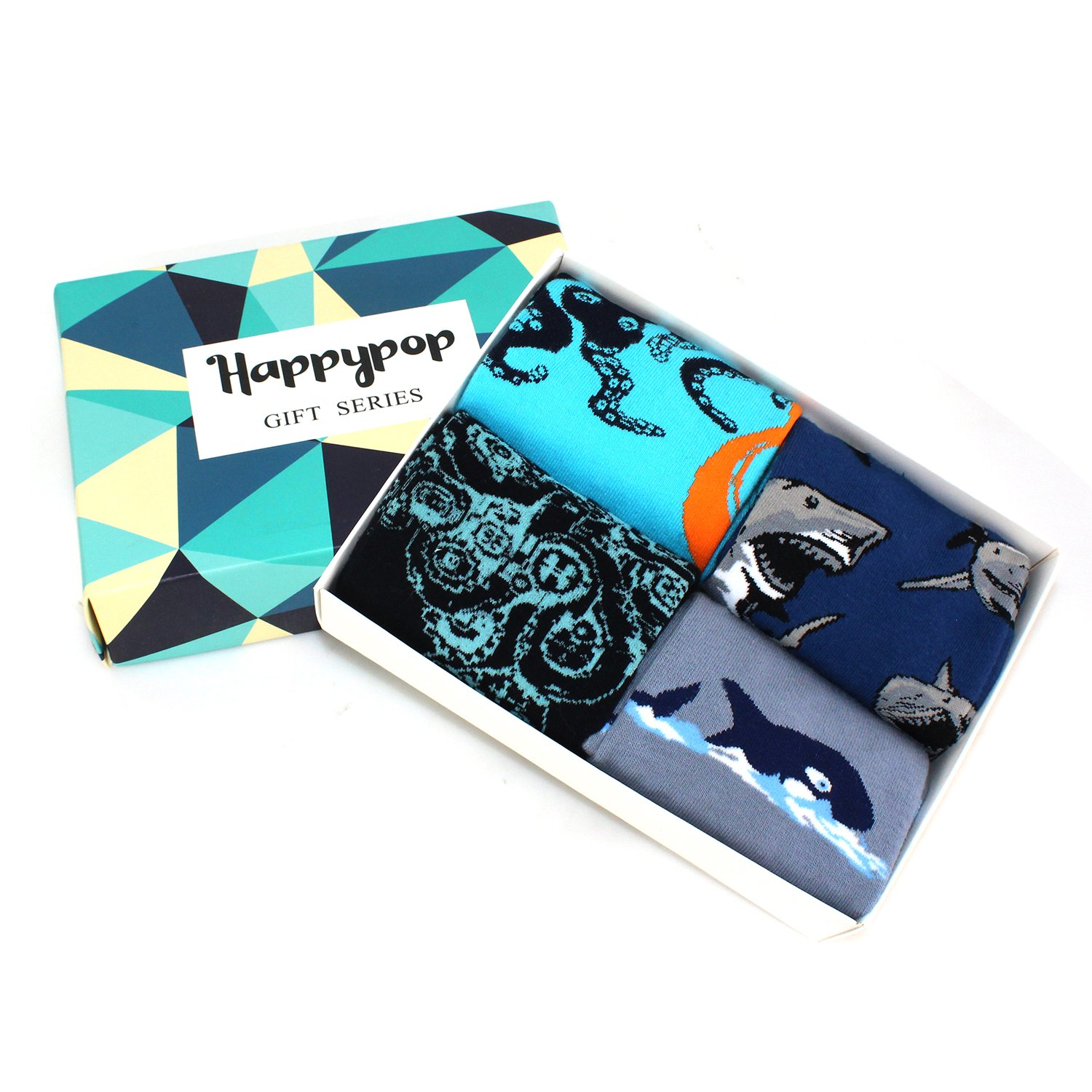 Novelty Cool Crazy Funny Dress Socks,Colorful Cotton Crew Socks, Shark Whale Octopus Gifts for Men by Happypop (Image #6)