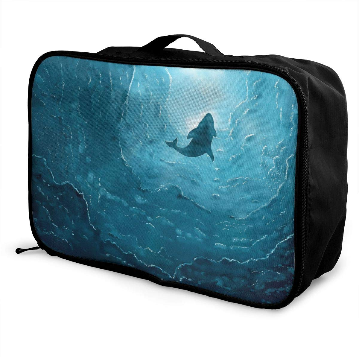 ADGAI Whale in The Deep Sea Canvas Travel Weekender Bag,Fashion Custom Lightweight Large Capacity Portable Luggage Bag,Suitcase Trolley Bag