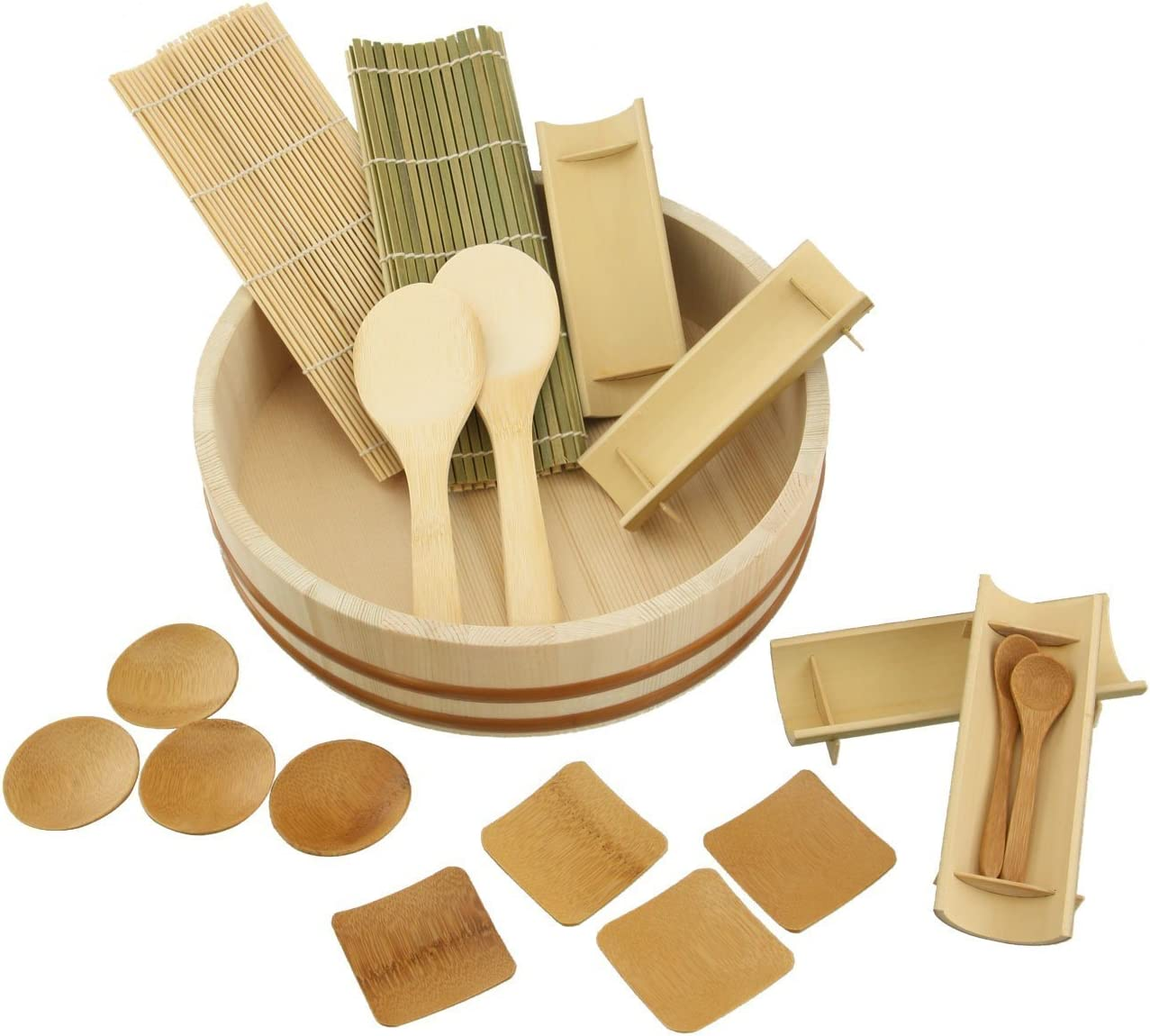 BambooImportsMN 12 Sushi Oke Tub Hangiri with 19pc Sushi Making Accessory Pack