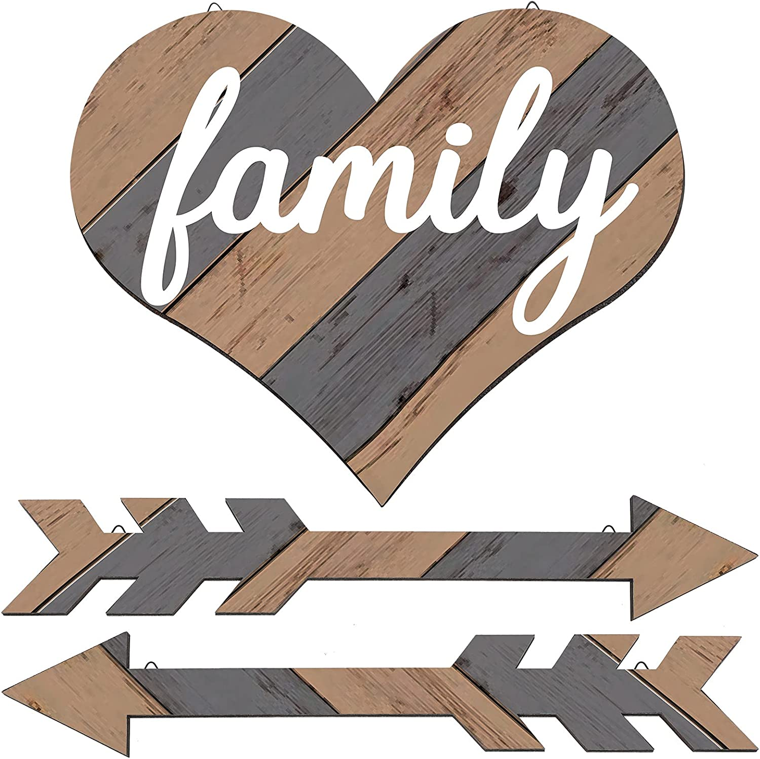 3 Pieces Family Arrows Wooden Wall Decor, Wood Farmhouse Heart Decoration Multi-color, Rustic Wooden Arrow Signs for Home Outdoor Party Decor