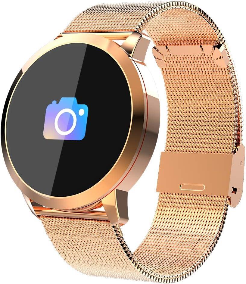 Pulsera deportiva Smart Smartwatches,rastreador de actividad física,Podómetro/Detección de frecuencia cardíaca/Anti-perdida/Recordatorio de tareas/Mensaje telefónico,Smartwatch mujeres hombres,Gold
