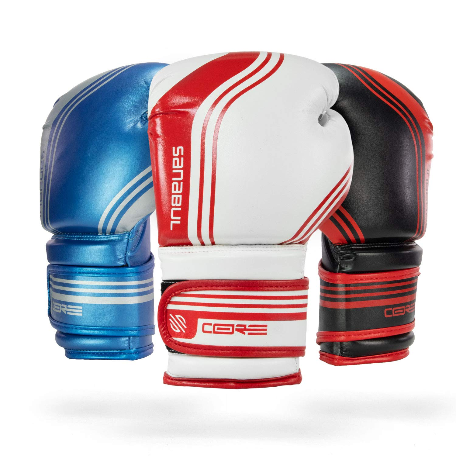 Sanabul Core Boxing Gloves (White/Red, 16 oz)