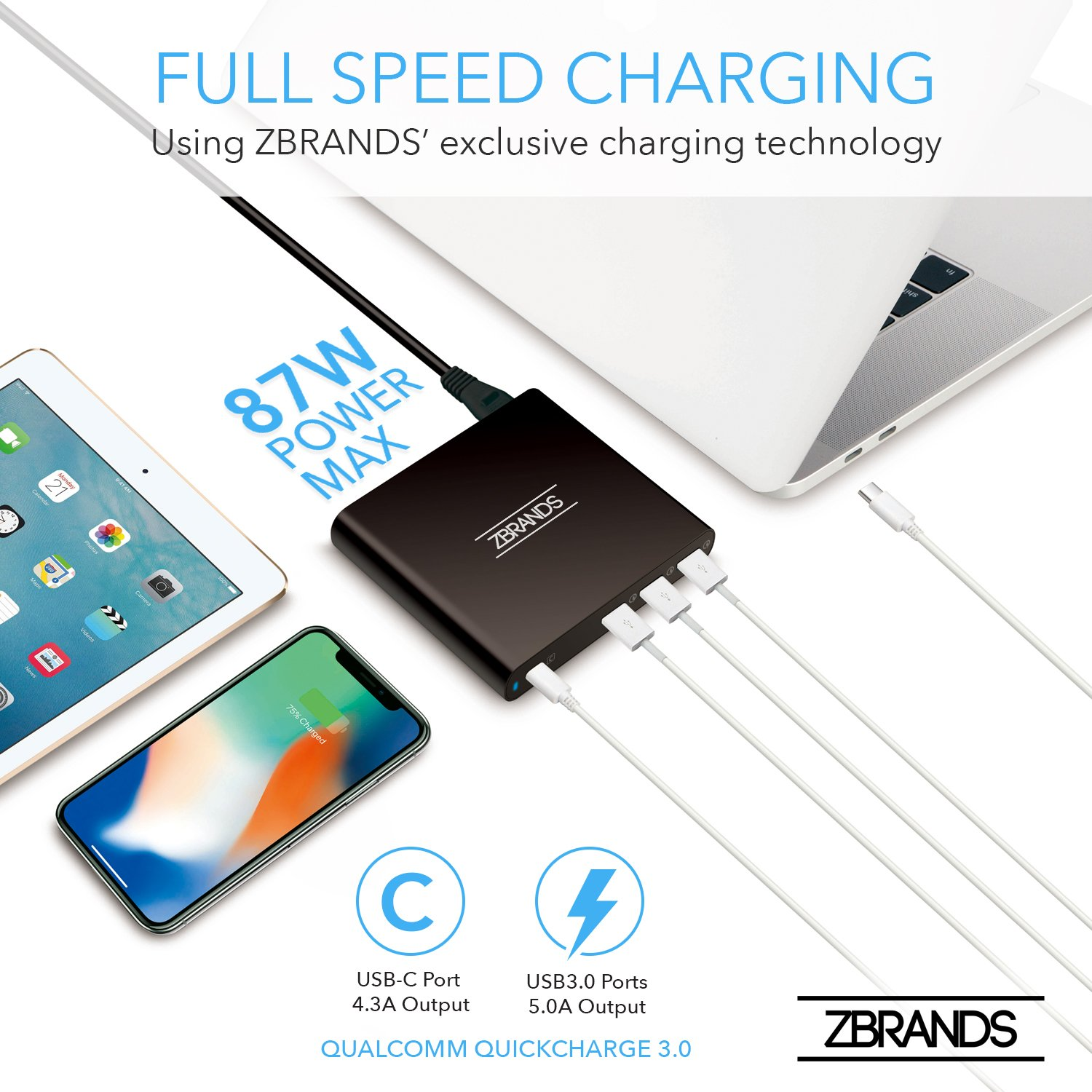 zbrands zbrands 87w 4 port usb c pd ultra speed charger power rh amazon in