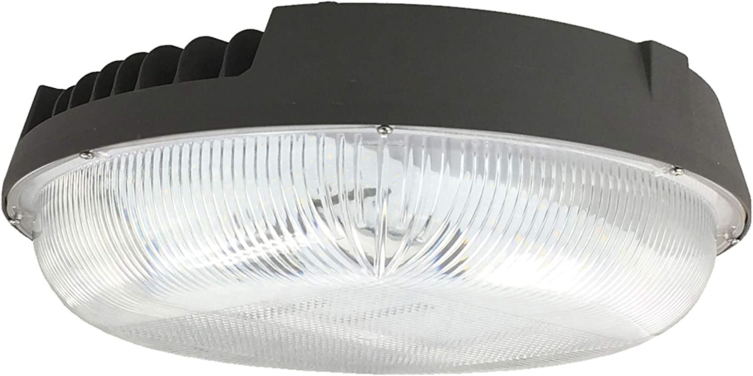 """Zip-LED Canopy Light in Bronze and Clear, 15.2"""" Diameter, 120W 5000K Daylight White 13,450 Lumen, Non-Dimmable, Wet Location IP65"""