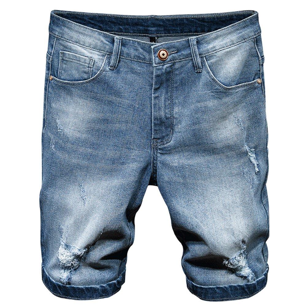 Cloudstyle Men's Summer Fashion 5 Pocket Stretch Denim Jean Knee Shorts