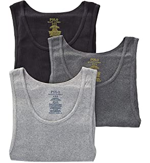 c853904a966188 Polo Ralph Lauren Classic Fit Ribbed Tank with Moisture Wicking 100% Cotton  - 3 Pack