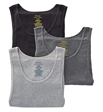 34a708f229d981 Polo Ralph Lauren Classic Fit Ribbed Tank with Moisture Wicking 100% Cotton  - 3 Pack at Amazon Men s Clothing store
