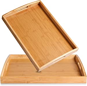 2 Pack Bamboo Serving Tray with Handles, Portable Bed Tray for Breakfast Dinner, Eating Trays for Living Room,Restaurants