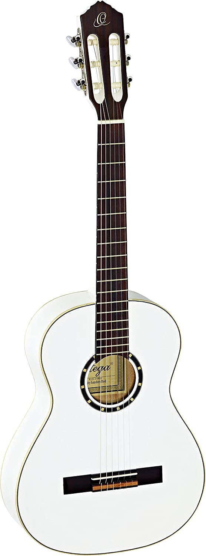 Ortega R121-3/4WH - Guitarra clásica, abeto y caoba, tamaño 3/4, color blanco