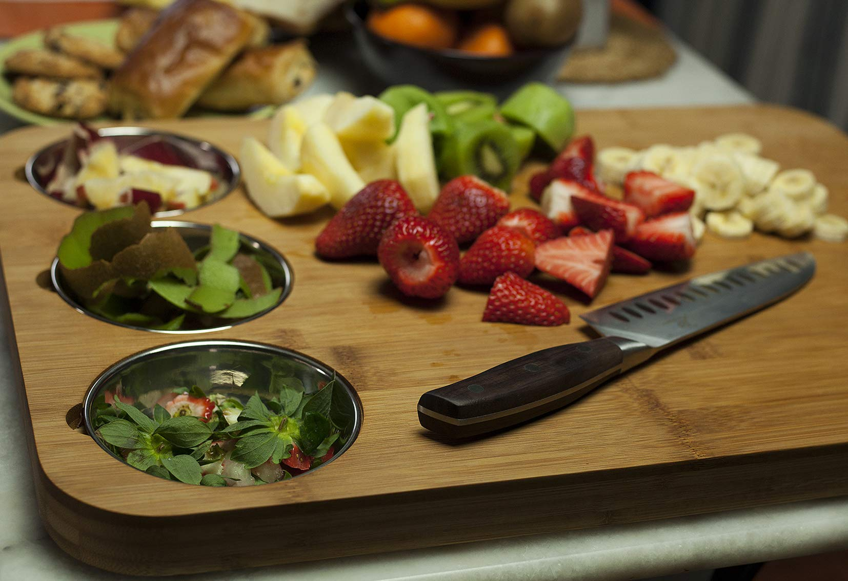 VERSACHOP Trio, Extra Large 22'' X 16'' Kitchen Cutting Board and Butcher Block made from Totally Natural Organic Moso Bamboo with Three Stainless Steel Bowls by VersaChop (Image #5)