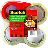 "Scotch Packing Tape Mailing & Storage Tape, 1.88"" x 50m, 4 Rolls with Hand-held Dispenser"
