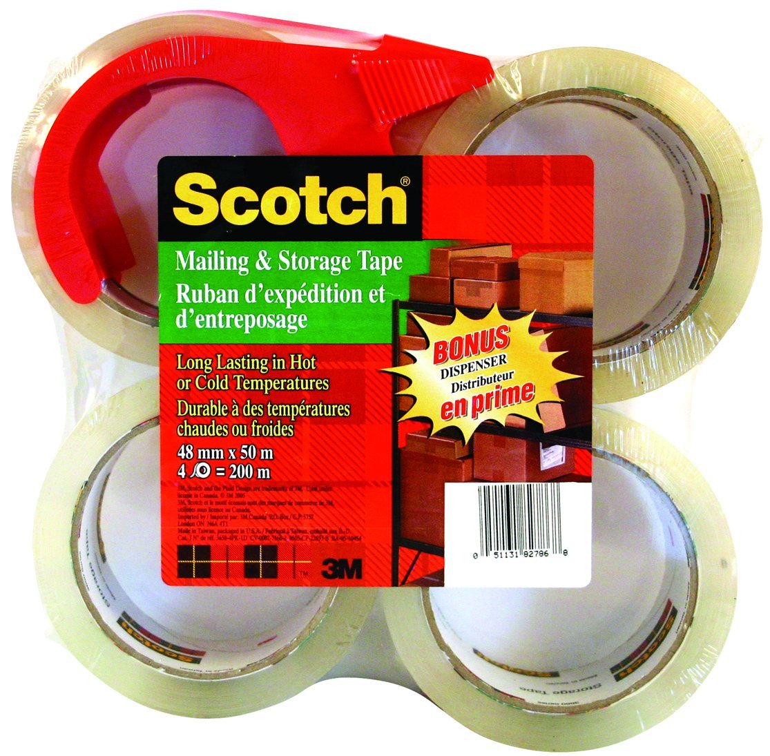 Scotch Mailing and Storage-Packaging Tape, Clear, Bonus Dispenser Included, 48mm X 50m (Per Roll), 4 Rolls, (3650-4PK-D) 3M Canada Company