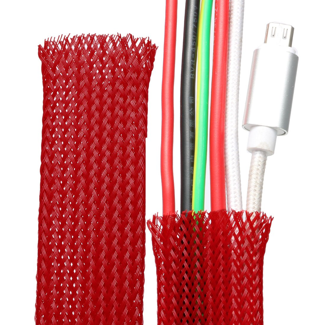 sourcing map PET Braided Sleeving 3.3 Feet 1m Expandable Cable Wrap 30mm Diameter Wire Sheath Red