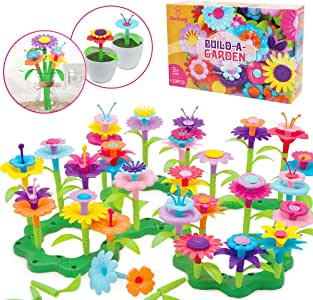 Mochoog Gifts Toys for 3 4 5 6 Year Old Girls, STEM Flower Garden Building Toys for Kids, 109 PCS Crafts for Toddlers Girls, Indoor/Outdoor Educational Toys for Preschoolers