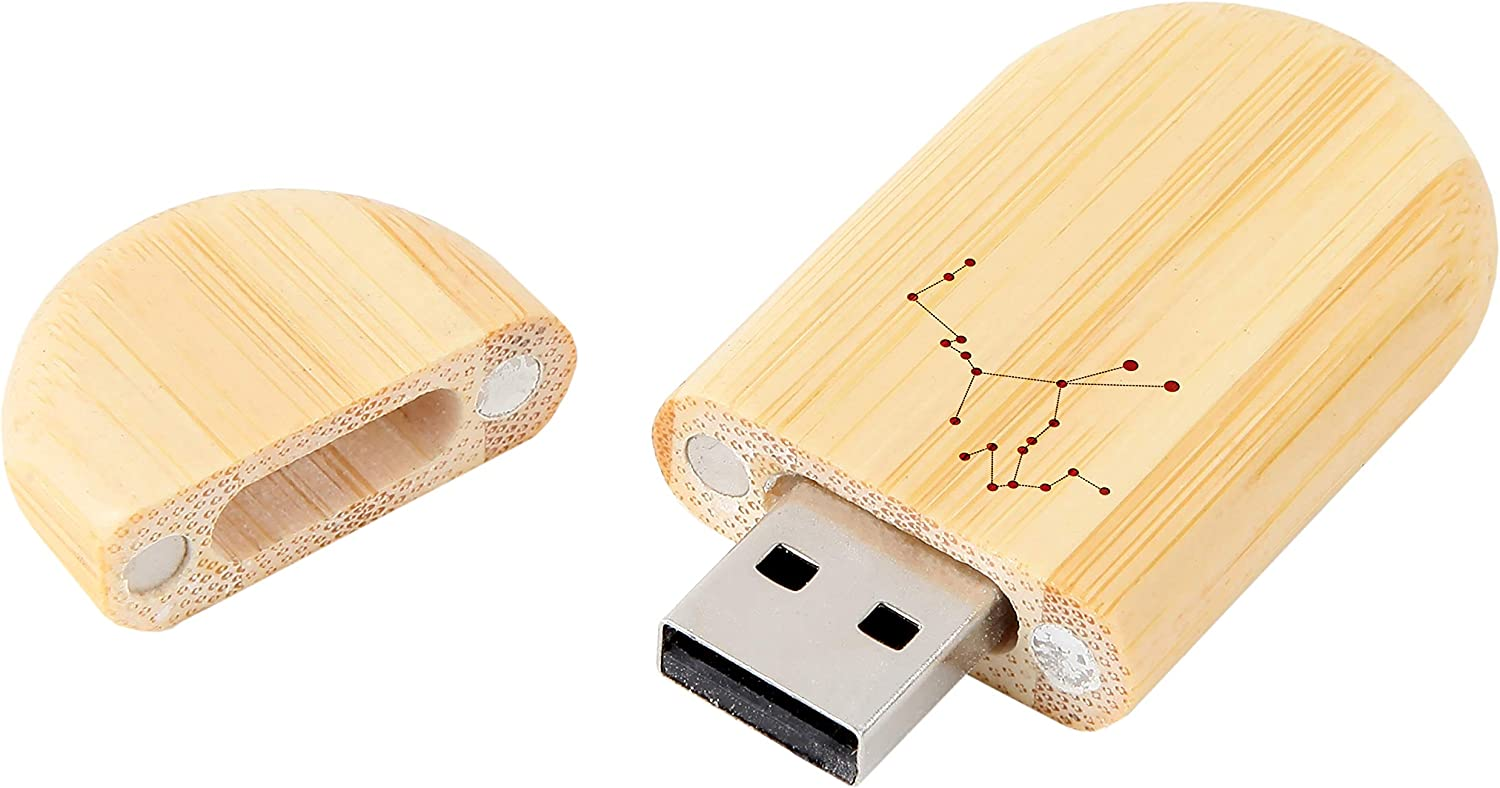 8Gb USB Gift for All Occasions Wood Flash Drive with Laser Engraving Constellation 8Gb Bamboo USB Flash Drive with Rounded Corners