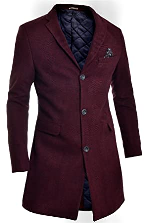Mens Winter Over Coat 3/4 Long Jacket Paisley Red Tweed Cashmere Three Buttons