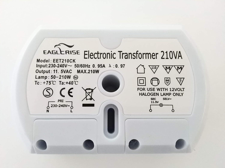 Eaglerise set210cs 210/W Transformateur halog/ène /électronique rond Variateur dintensit/é en demi-lune