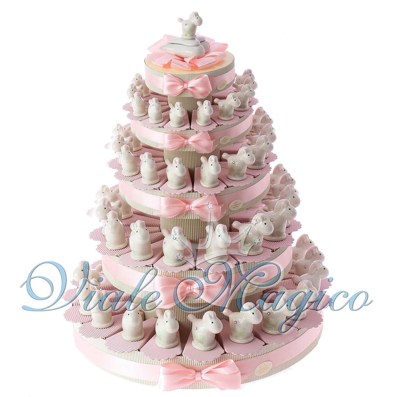 Bomboniere Nascita Battesimo Primo Compleanno Torta con Statuina Pony Bimba in Porcellana (90 Pezzi)