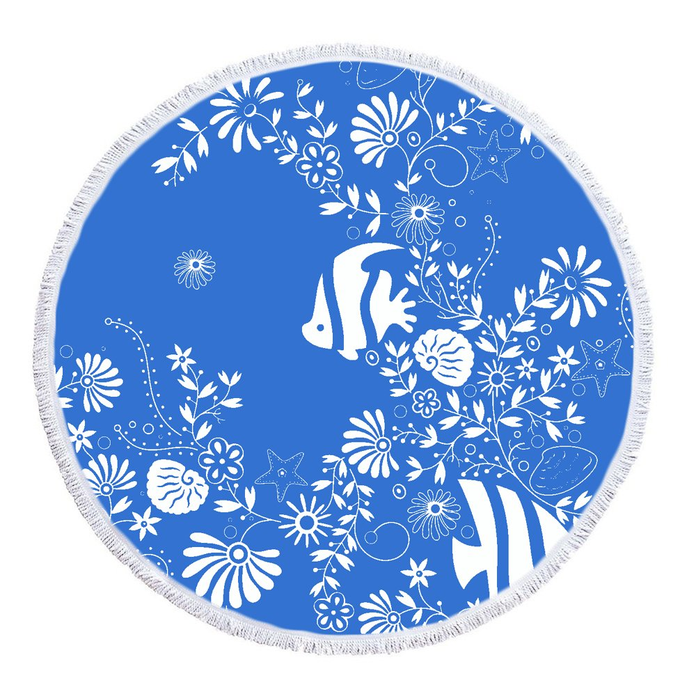 LIPOR Handcraft Round Beach Towel, The Underwater World Fish Shell Seaweed Starfish Blue And White,Thick Round Beach Towel Tapestry Blanket Yoga Mat With Tassels 60 inches