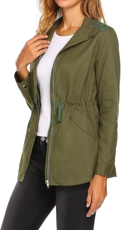 Showyoo Womens Zip up Anorak Jacket with Drawstring