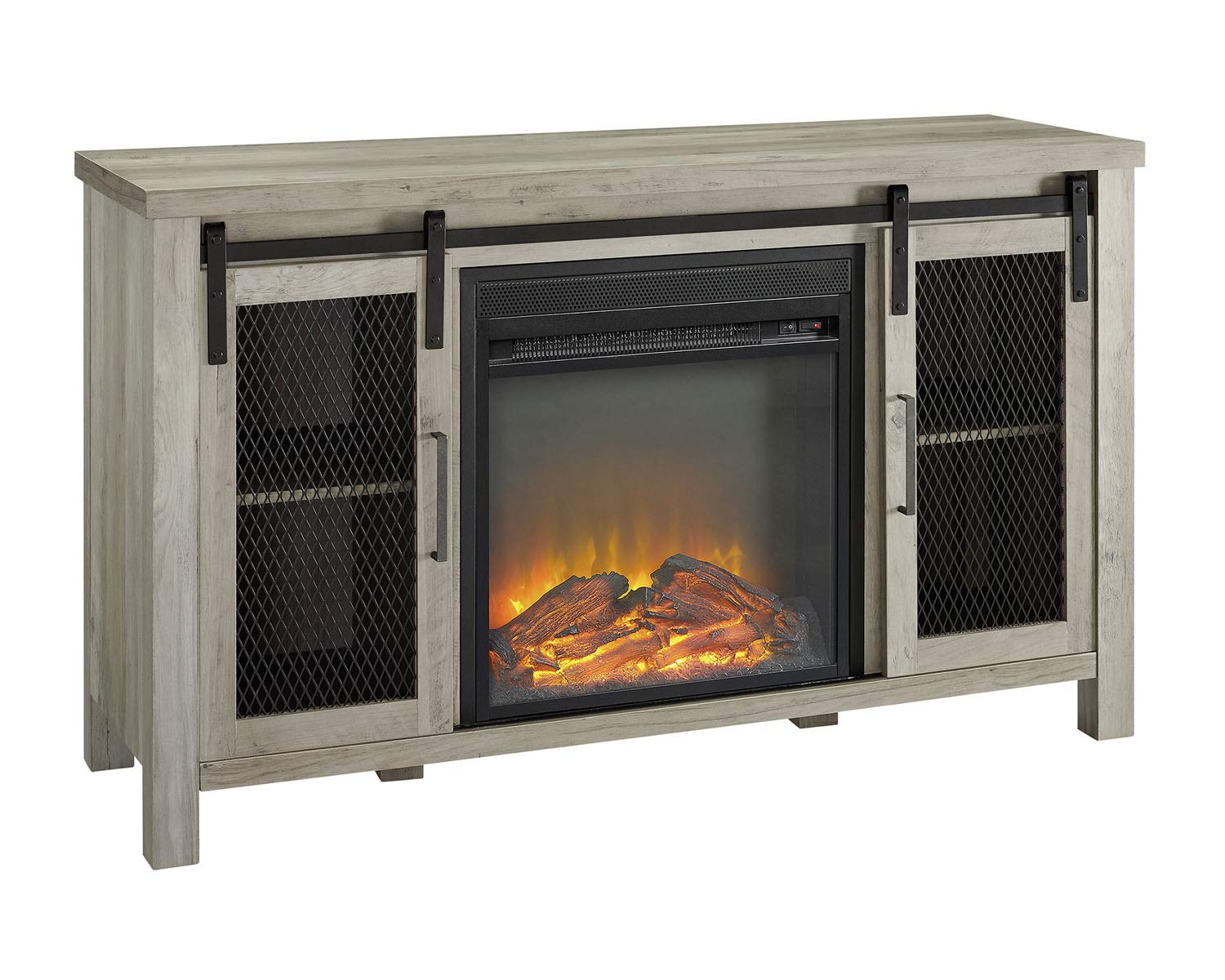 Walker Edison Furniture Company 48 Rustic Farmhouse Fireplace TV Stand – Grey Wash