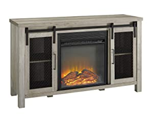 """WE Furniture Durable 48"""" Rustic Farmhouse Fireplace TV Stand - Grey Wash"""