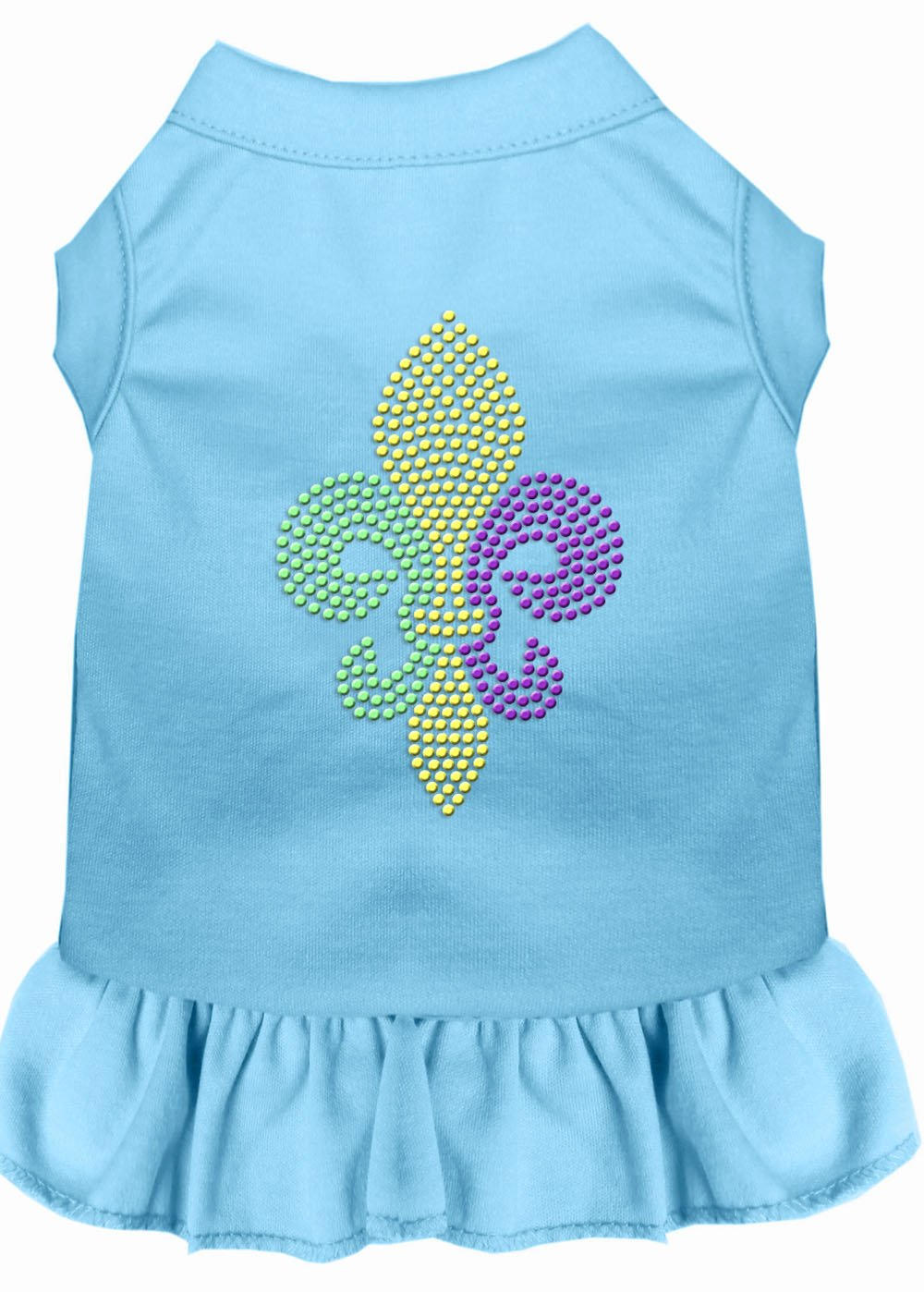 Mirage Pet Products 57-57 SMBBL bluee Mardi Gras Fleur De Lis Rhinestone Dress Baby, Small